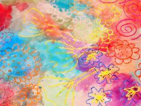 watercolor and crayon resist artwork