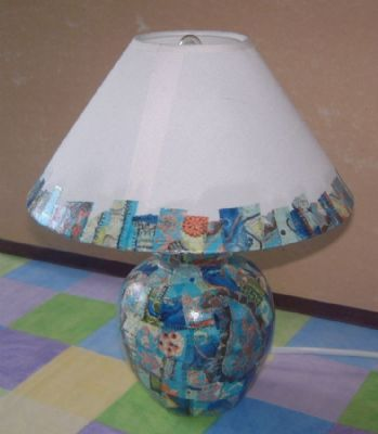 An old table lamp given a new lease of life with Decopatch.