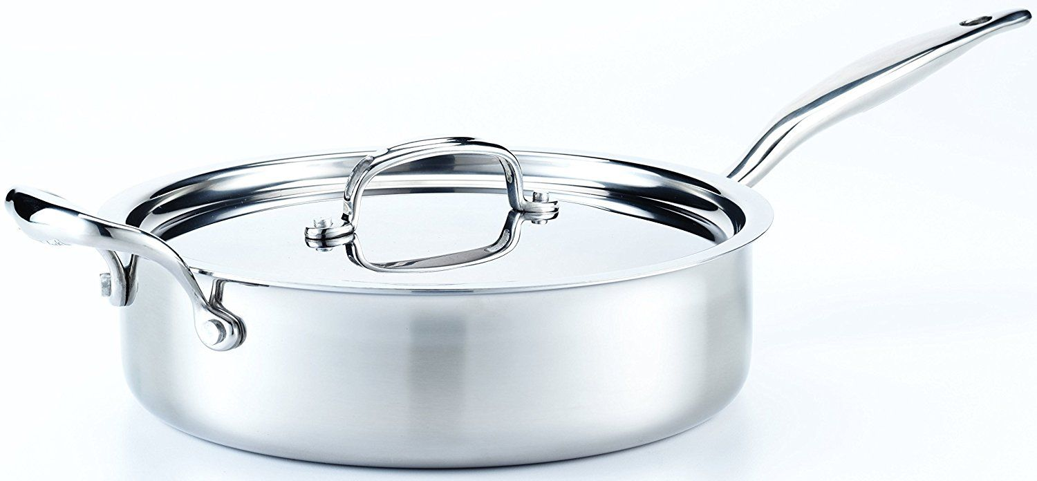 Hammer stahl 4 quart deep saute pan with cover for