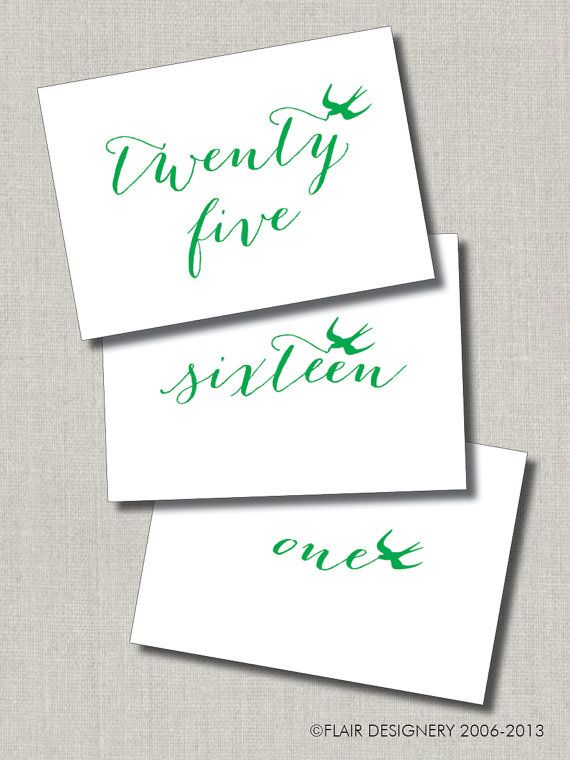Swanky Script Printed Set Of 25 Wedding Table Numbers By Flairdesignery 43 75 Script Print Print Sets Table Numbers