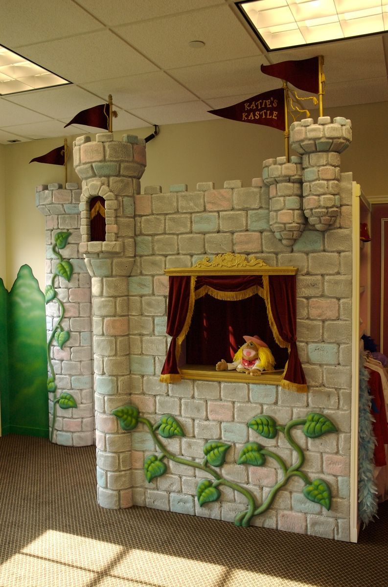 Custom Made Kids Play Castle Puppet Stage Kids Playing