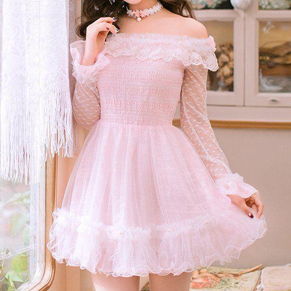 1efca2d0f2c5 Pink Lolita Lace Long Sleeve Off Shoulder Dress SP178878