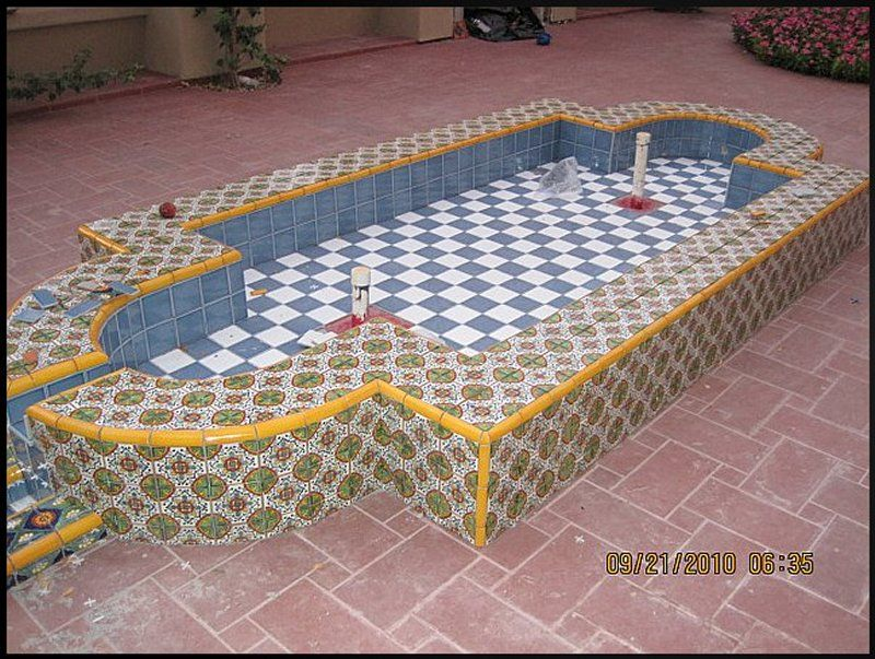 Mexican Tile Decorating A Wading Fountain, Mexican Home Decor