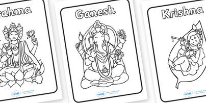 Hindu gods colouring sheets religion faith colouring for Hindu gods coloring pages