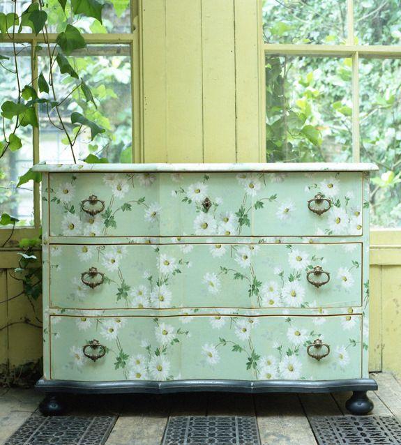 Antique dresser with vintage wallpaper diy wallpapered furniture recycling furniture antique dresser with vintage wallpaper sisterspd