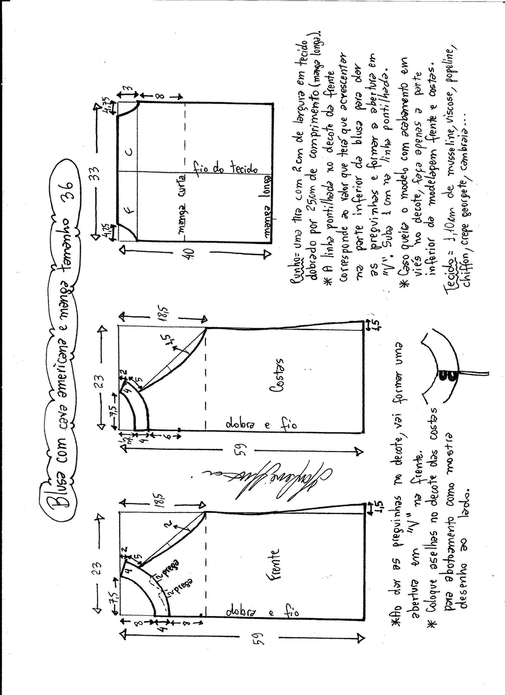 Patrón Blusa cava americana con manga | Patrones | Pinterest ...