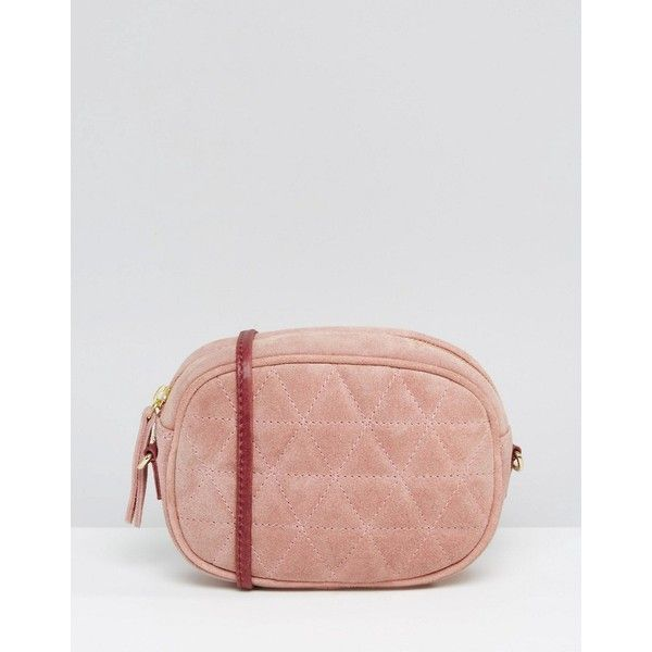 ASOS Quilted Oval Suede Cross Body Bag With Chain Strap (£30) ❤ liked on Polyvore featuring bags, handbags, shoulder bags, pink, quilted shoulder bag, quilted chain strap shoulder bag, pink purse, single strap shoulder bag and crossbody handbag