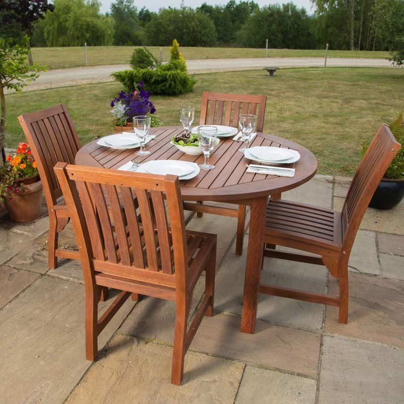 4 Seater Dining Set Round Table Chairs Wooden Garden Patio Brown Yard Furniture Yard Furniture Round Table And Chairs Outdoor Dining Set