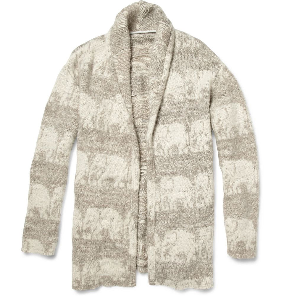 fe48a09c66121 The Elder Statesman | Gray Elephant Pattern Cashmere Smoking Jacket for Men  | Lyst
