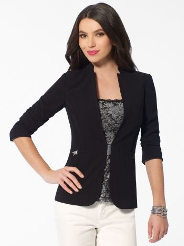 NEW Cache Black Silver Magnetic Closure Blazer  Office Dress Jacket     4 S  6 M #Cache #Jacket #Career