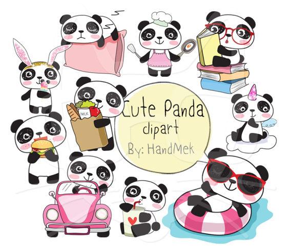Cute Panda Kawaii Panda Clipart Instant Download Png File 300 Dpi In 2021 Cute Panda Drawing Kawaii Panda Cute Panda