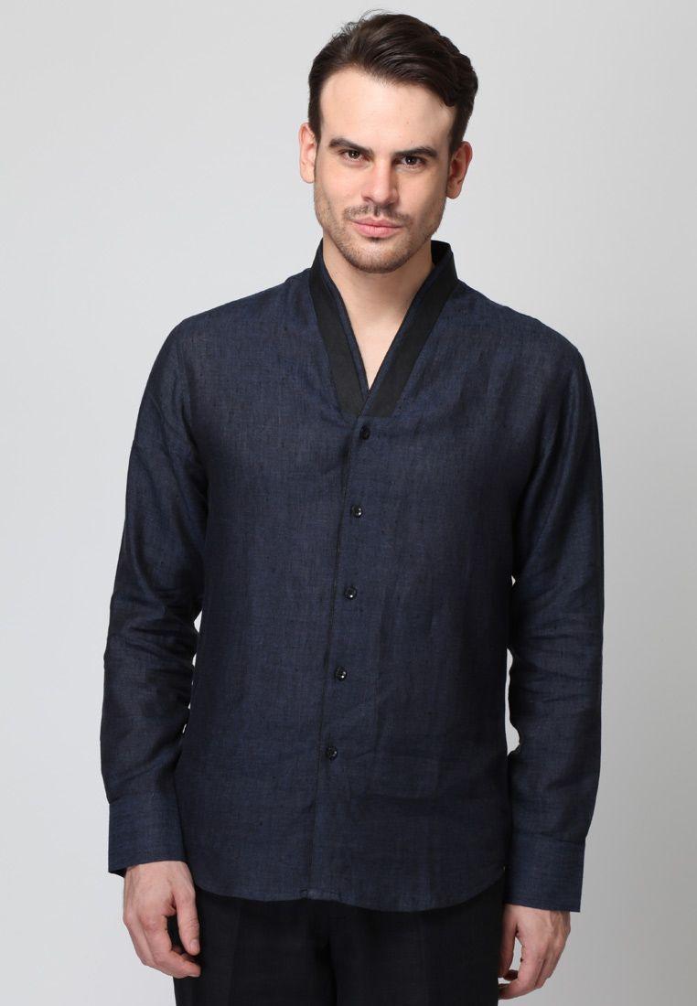 Black t shirt jabong - Long Sleeve Blue Linen Shirt Mksp Buy Men S Shirts Online In India Jabong