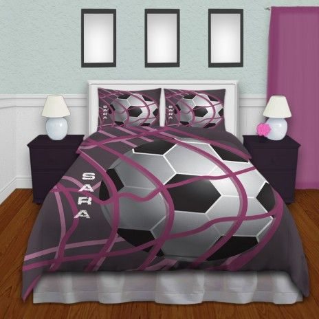 Girls Soccer Themed Comforter Set, Purple Background and you can ...