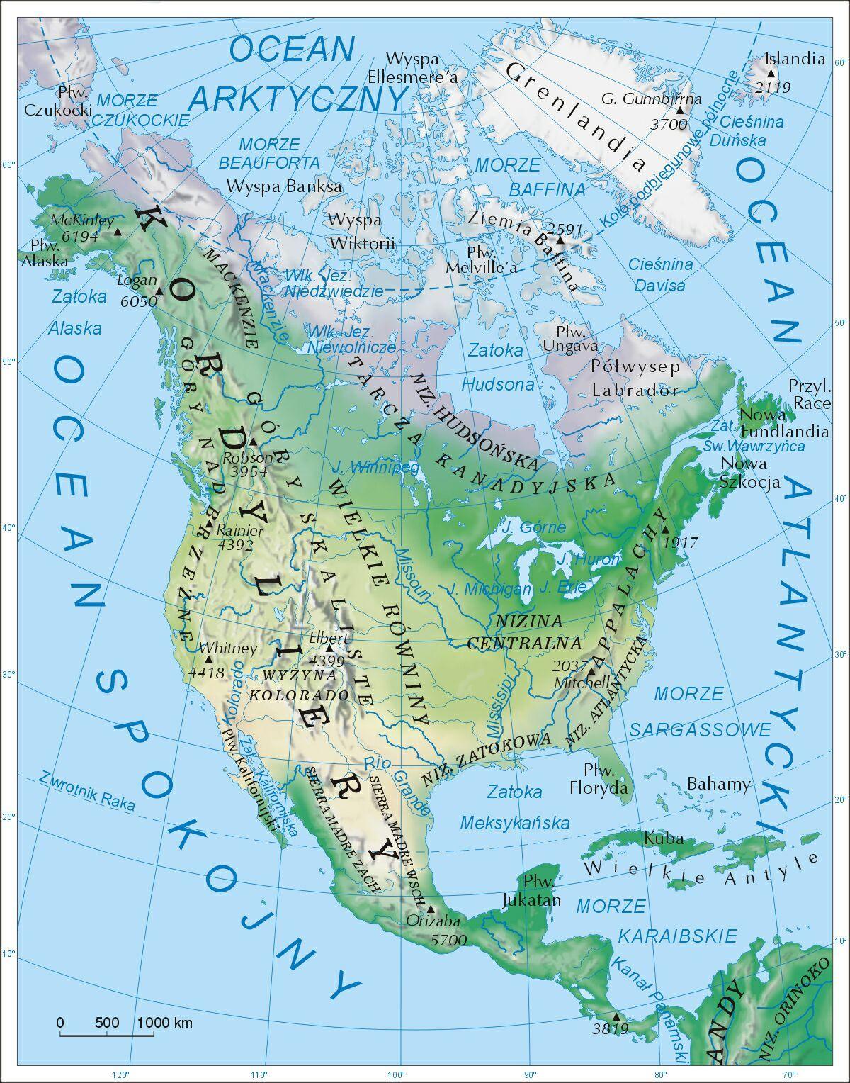 Ameryka Polnocna Mapa Fizyczna Mapy Pinterest Geography