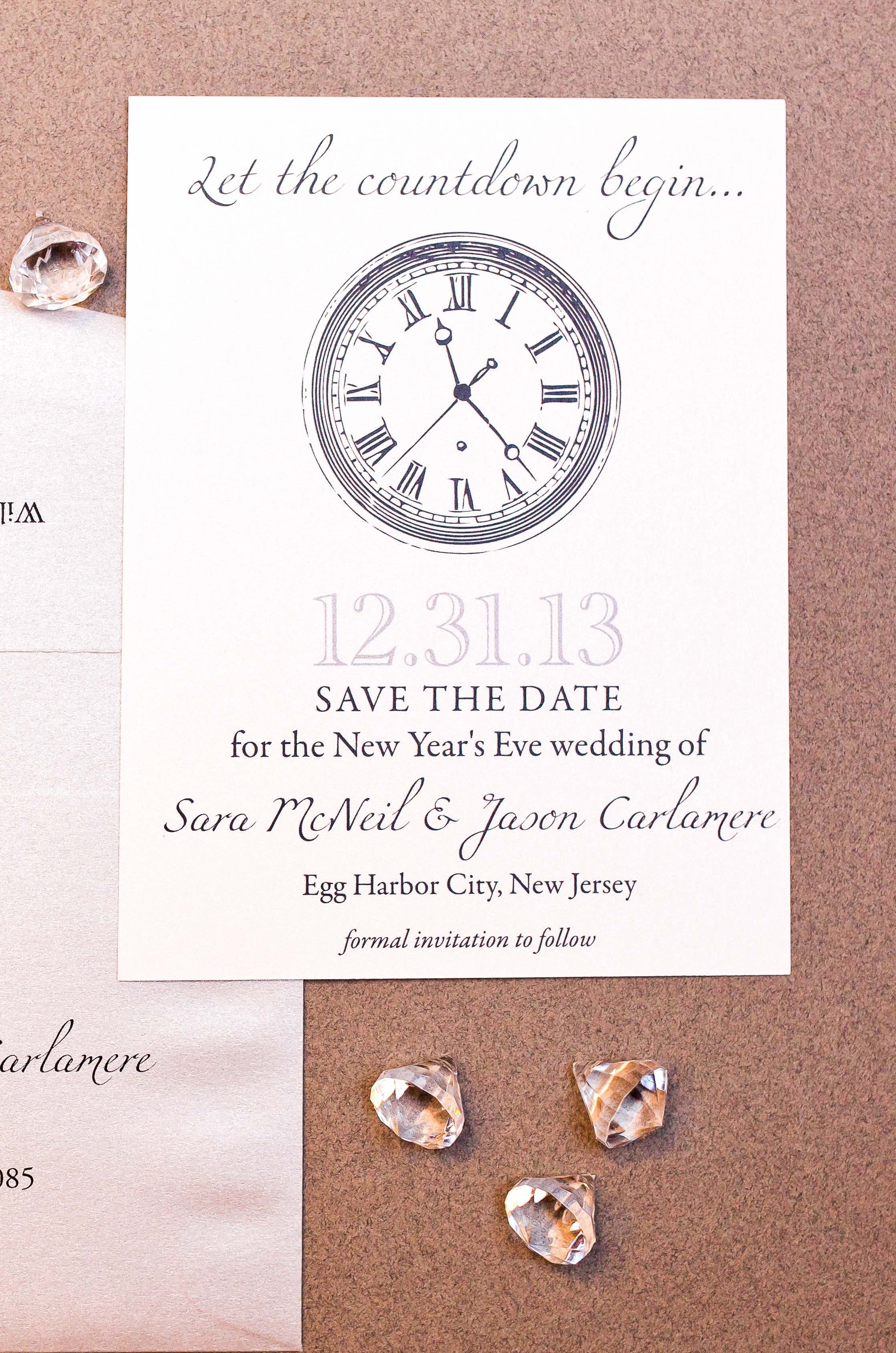 This Simple Design Makes Such A Statement For Your New Year S Eve Save The Dates Wouldn T Be Fun With Rhinestone In Center Of Clock Too
