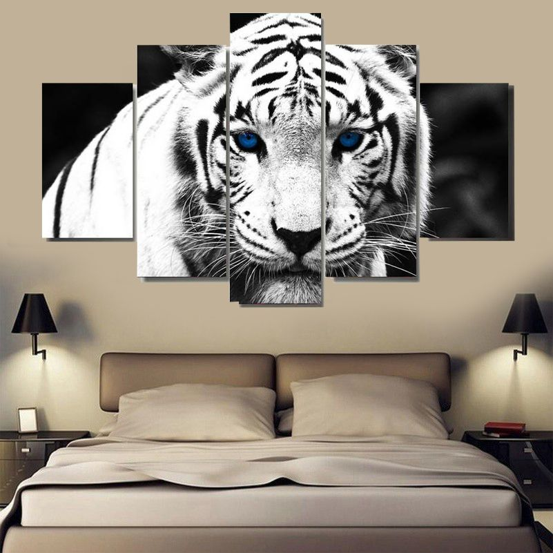 5 Panel Decorative Canvas Animals White Tiger Painting Modern Home Decor Oil Walls Art Picture Livin Tiger Canvas Painting Canvas Art Wall Decor Tiger Painting White tiger living room decor