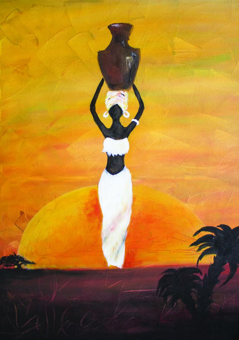 Black Woman Art Painting In 2020 African Art Paintings Africa Art African Paintings
