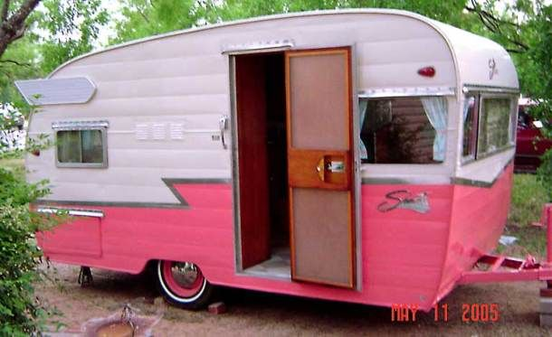 Flamingo Pink And White Vintage Shasta Trailer