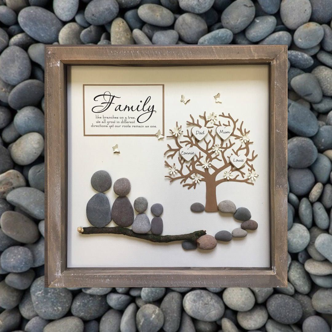 Parent Gift, Family Tree, Pebble art, Fathers day, family gift, Family Picture, Personalised, Adoption, Family Frame, Anniversary gift, Mom