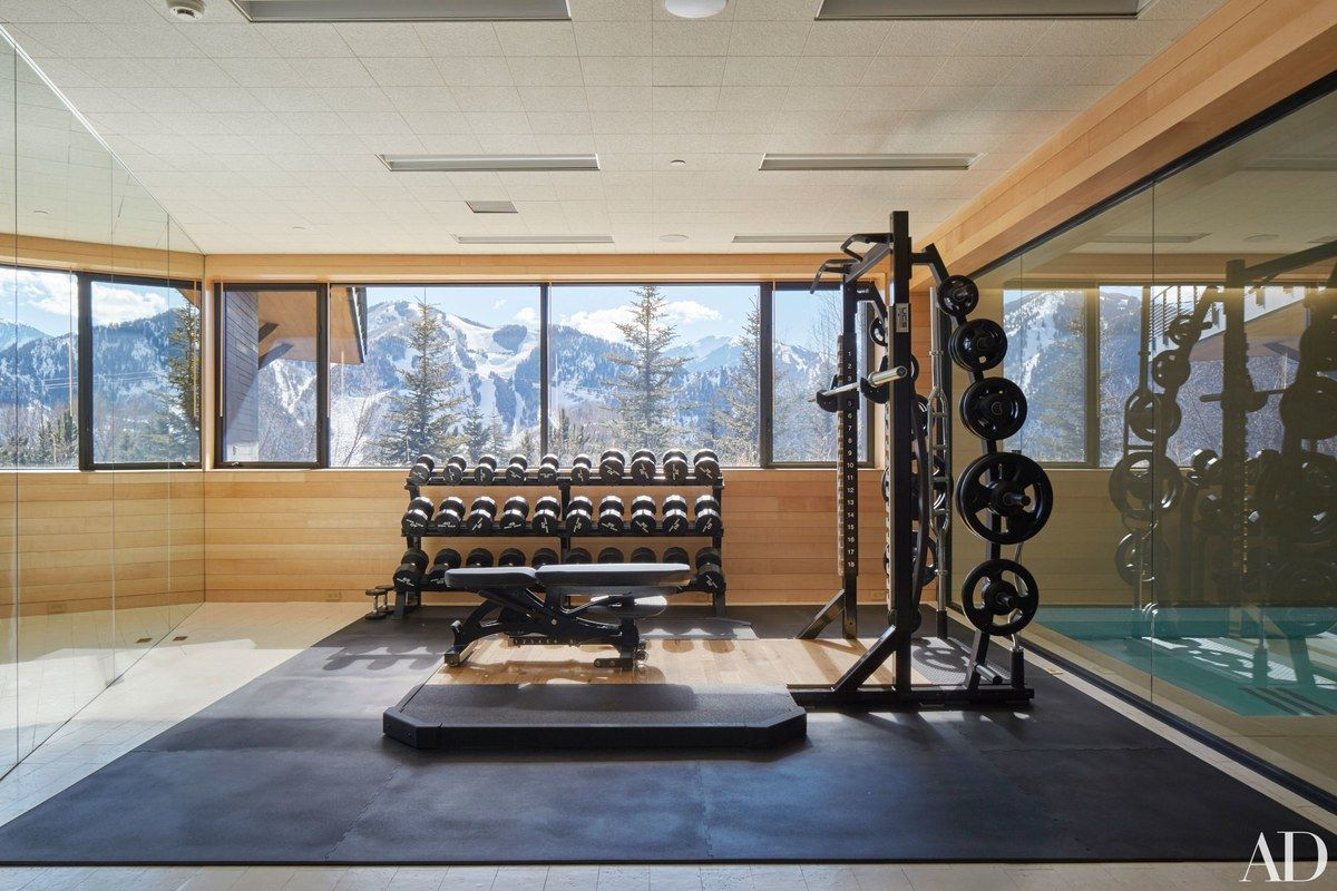 The Gym Features A Stunning View Of The Mountains.