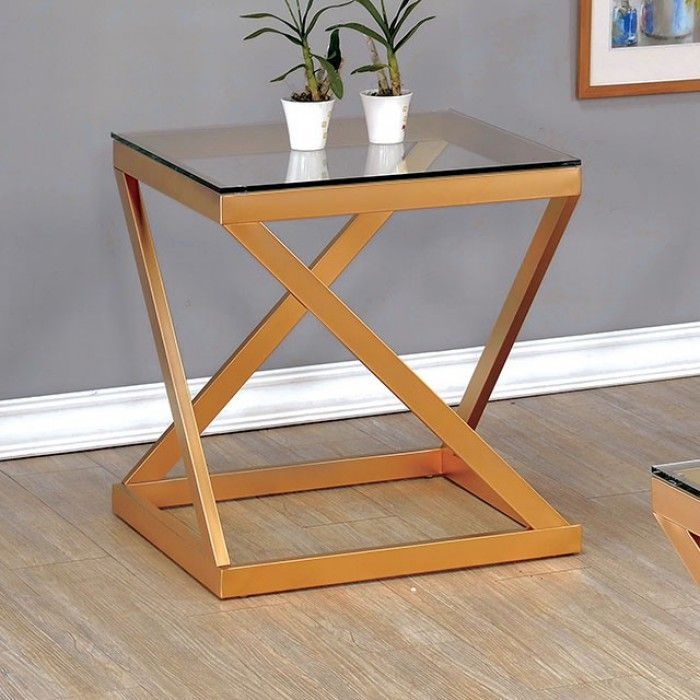 Zoya By Furniture Of America End Table Cm4121e Gold Finish Slim Side Gl Top