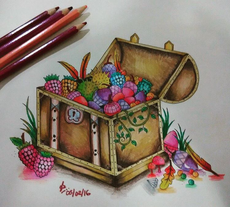 Fruitful Treasure Chest Enchantedforestcoloringbook Johannabasford Coloringjourney Coloringforadults