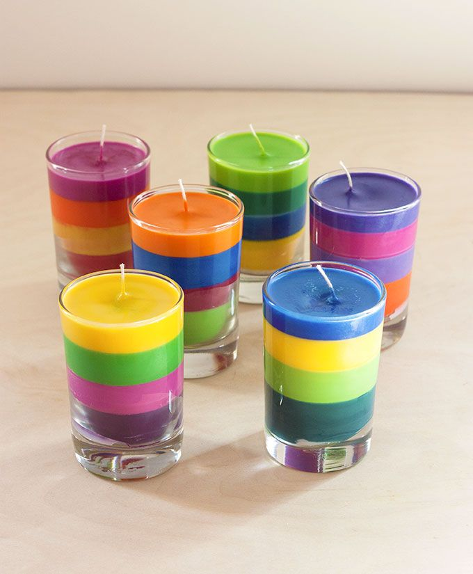 DIY Crayon Candles | The Evermine Blog | www.evermine.com  This would be perfect in pretty flea-market glasses! :D