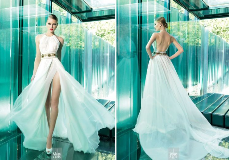 vestido de noiva seda corte classico e cinto dourado yolancris ...
