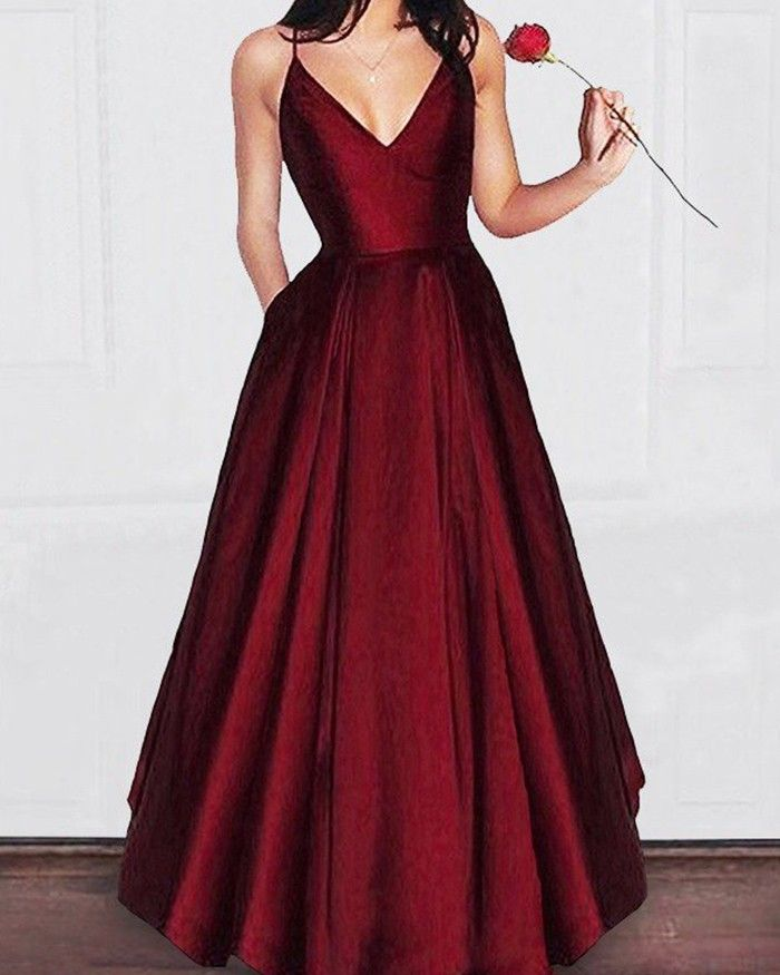 d8189aa100a Shop simple spaghetti straps burgundy pleated satin long prom dress with  pockets from Hocogirl.com