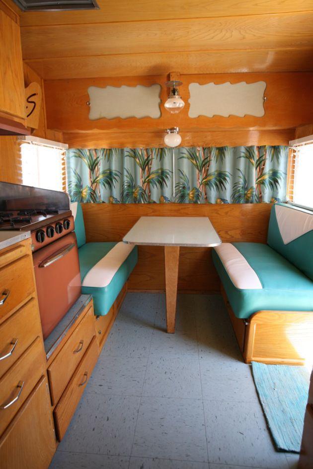 Shasta Trailer Vintage Interior Dinette Vinyl Upholstery Barckcloth Curtains Blinds Kitchen Turquoise Blue Linoleum