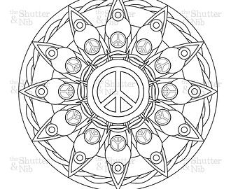 Peace Sign Mandala Coloring Pages | Drawing 101?? | Mandala coloring ...
