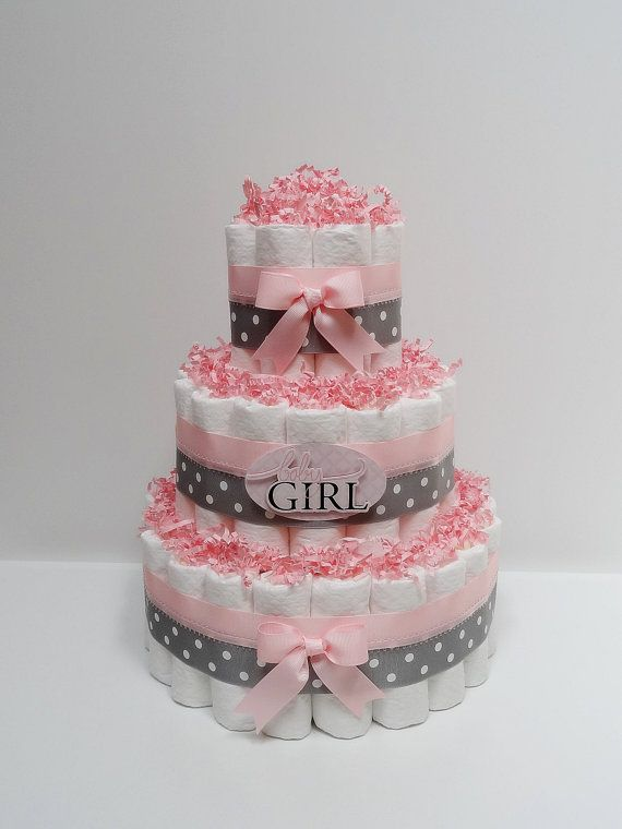 Baby Girl Pink And Gray Diaper Cake I Hope Mine Turns Out As Nice