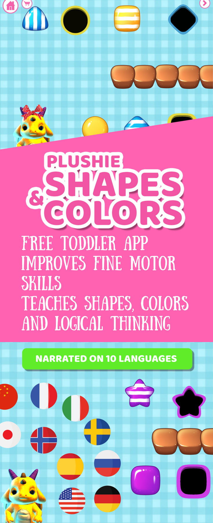 Plushie Shapes & Colors is a fun and free educational game