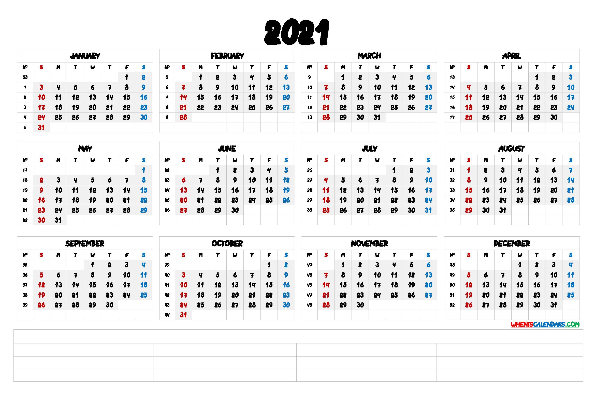 2021 Calendar With Week Number Printable Free / 2021 Free ...