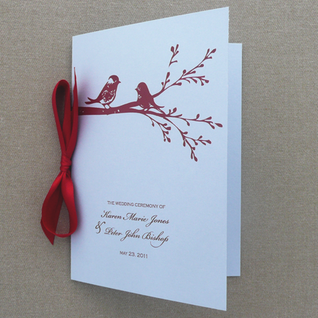 Diy Lovebirds Wedding Program Template Add Your Text And Print At Home