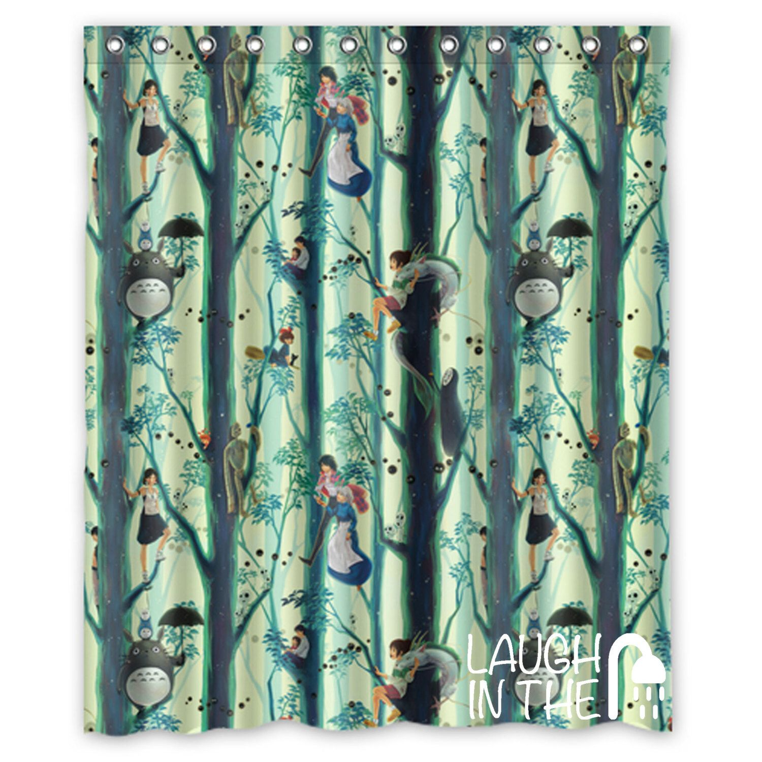Studio Ghibli Film Characters Shower Curtain Available In 4
