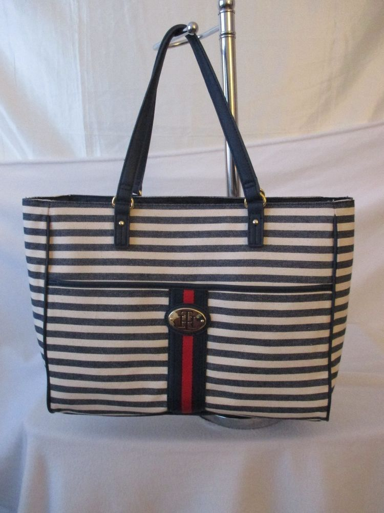 Tommy Hilfiger Beige Blue Red Handbag Purse Authentic Brand New Tote  6932622 467  TommyHilfiger  Totes 2a37940c7b2c6