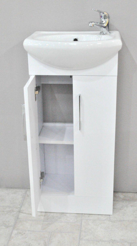 Zulu White Small Compact Basin Vanity Unit Bathroom