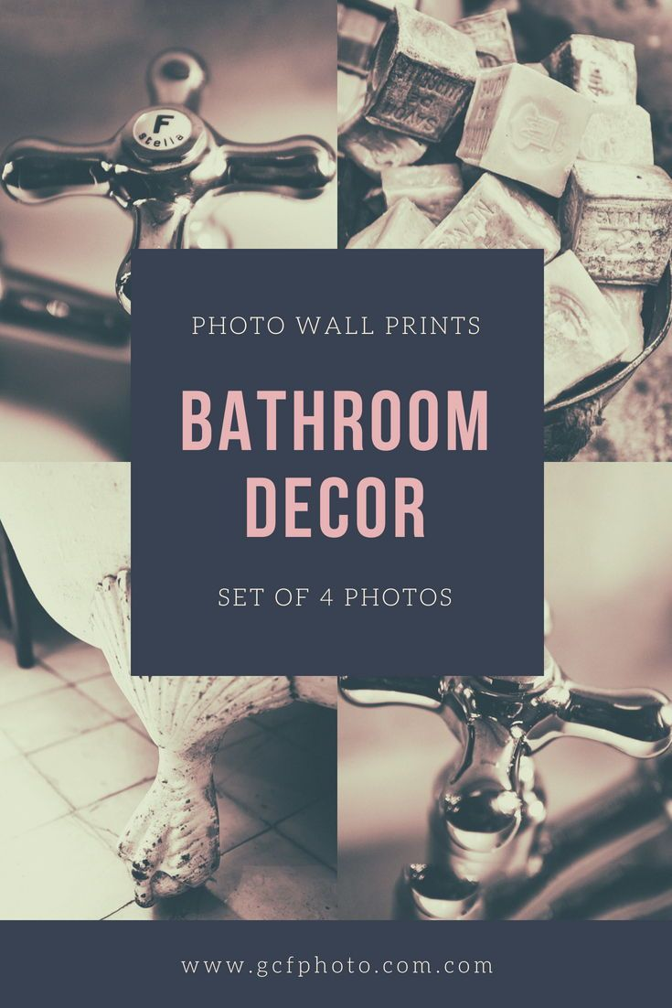 Wall art set of prints for bathroom taps soaps and bath decor