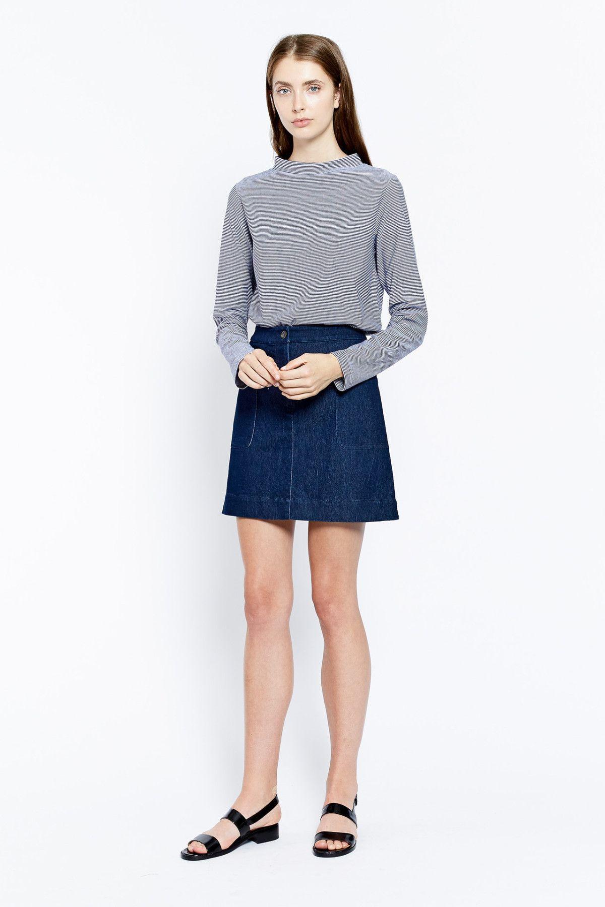 Vanishing Elephant - Mid-Thigh Denim Skirt