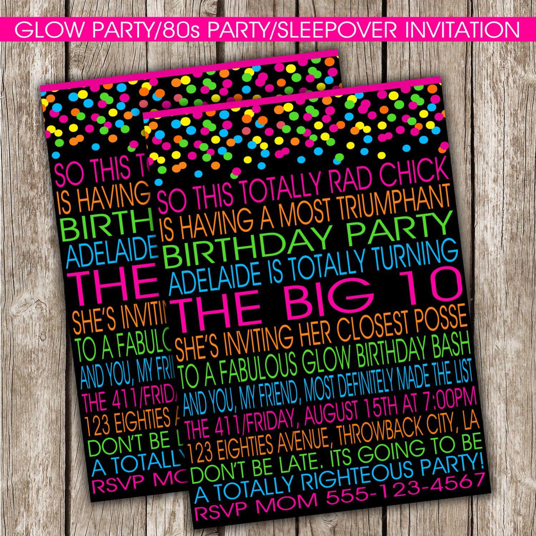 Glow Party Invitation - 80s Birthday Party - Glow Party - DIY ...