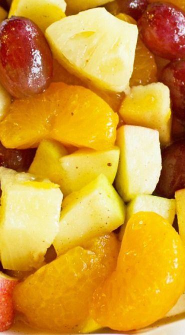Winter Fruit Salad With Cinnamon Rum Sauce Recipe Winter Fruit Salad Fruit Salad Recipes Fruit Salad Easy