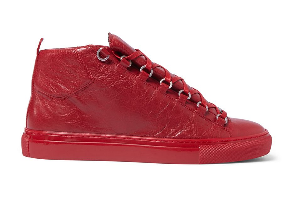 detailed look ffa92 a6963 Balenciaga Arena Creased Red Leather Sneakers