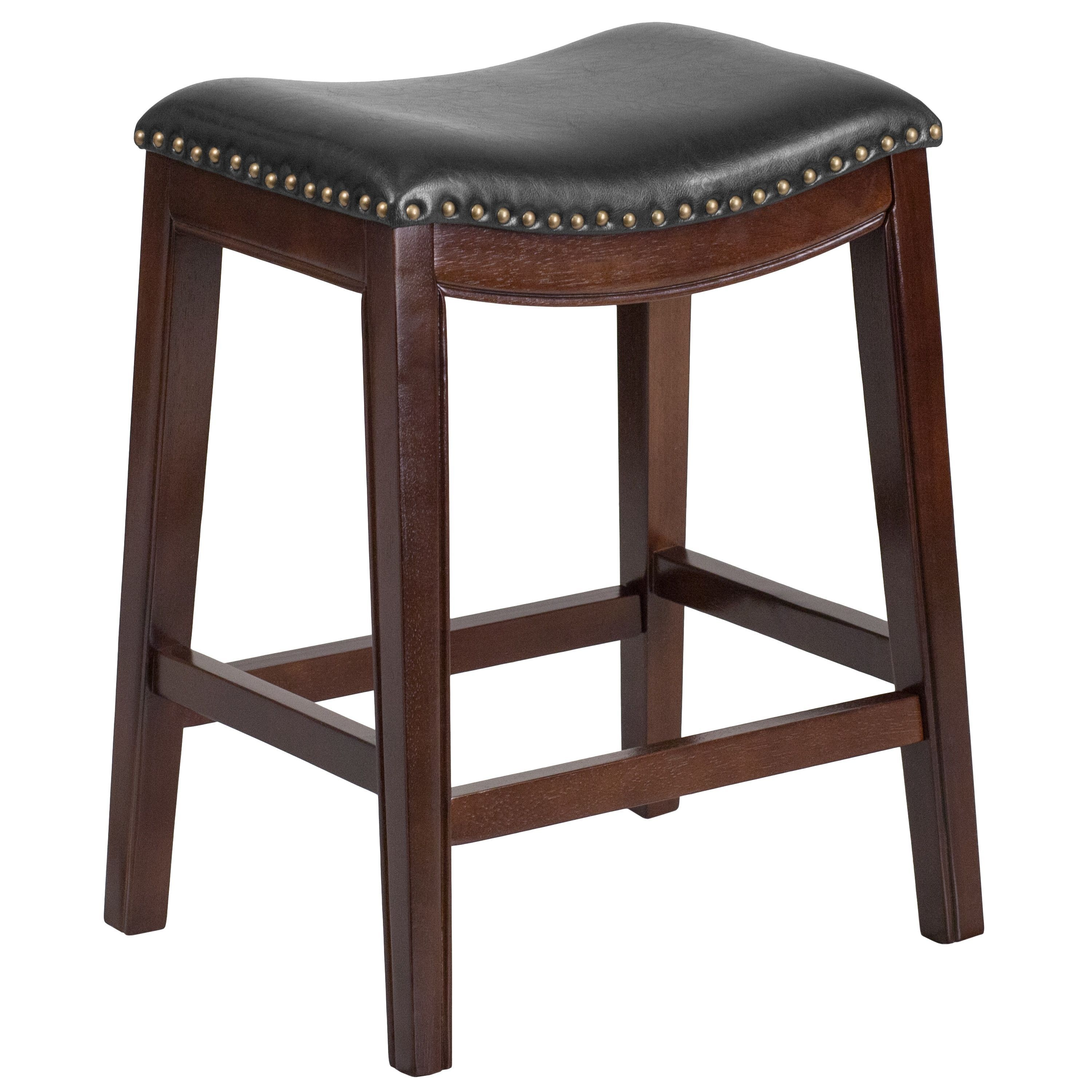 26-inch Backless Wood Counter Height Stool with Leather Seat (Black ...