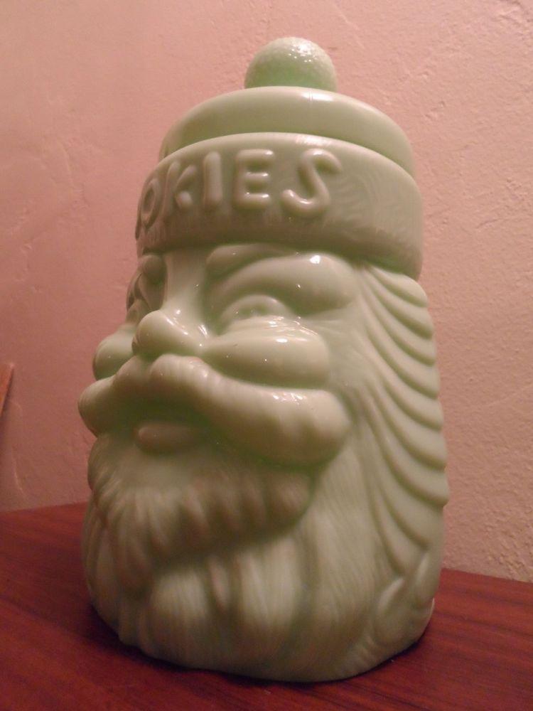 Cracker Barrel Jadite Santa Claus Cookie Jar | Santa Cookie Jars ...