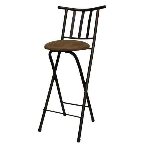 Slat Back Folding 30 Quot Barstool Bronze With Beige