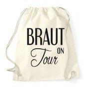 Vintage-Rucksack mit Braut on Tour-Motiv für den Junggesellenabschied