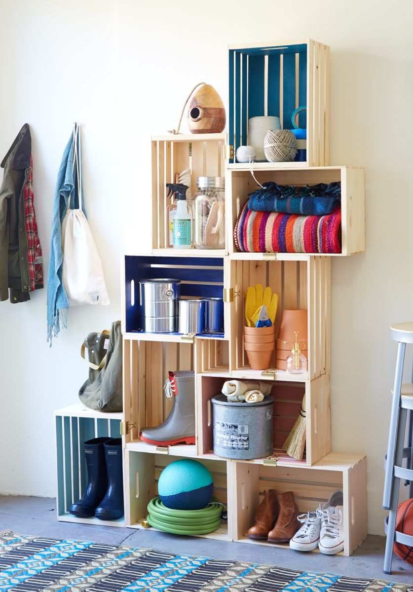 Shelving · Shelves from wood crates ... & Shelves from wood crates from JoAnnu0027s | Bookshelves | Pinterest ...