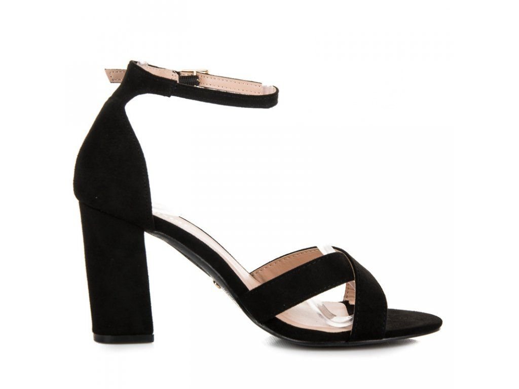 dc6903f75751 Čierne sandále na opätku Seastar