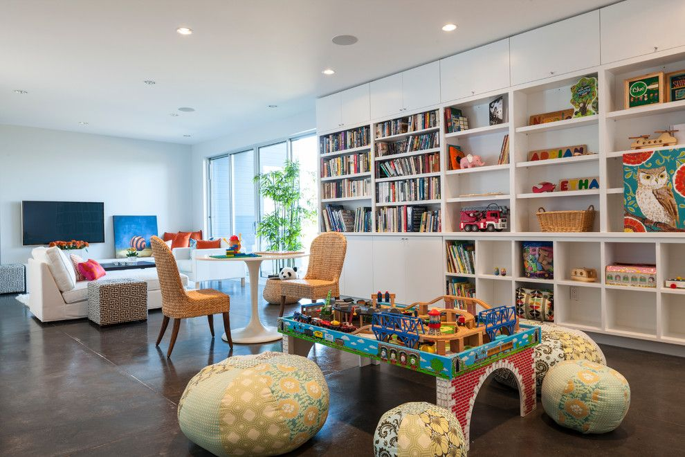 Kids Playroom Family Room Ideas cool coral pouf mode seattle contemporary family room decorating